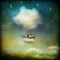 Mixed Media by Alexander Jansson - I would love my own private 'cloud' ballon, please! Begin with the sound  'Of Monster's and Men' [My Mind is an Animal] as background music for take off... after that, The Sky Is The Limit. Room for a few at a time, you know who you are, so grab your backpack:)