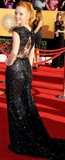 Who made Jayma Mays' jewelry and black beaded gown that she wore to the 2012 Screen Actors Guild Awards in Los Angeles? Dress – Reem Acra  Jewelry – Neil Lane