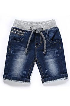 LITTLE-GUEST Baby Boy Jeans Shorts Drawstring Waistband Blue Jean Shorts for Toddler Boys B210