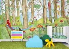 Jungle Dudes - Mr Perswall Wallpapers - A fun children's mural with bright and bold colours in a jungle scenery and lots of animals. colour ways available. Total mural size 360 cm wide and 265 cm high. Luxury Wallpaper, Boys Wallpaper, Wallpaper Online, Designer Wallpaper, Wallpaper Jungle, Scandinavian Wallpaper, Jungle Scene, Cool Kids Rooms, Murals For Kids