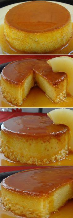 Flan de piña sin horno.  #flan #pina #pineapple #sinhorno #flanes #gelatina #gelato #caramelo #caramel #cheesecake #postres #cakes #pan #panfrances #panettone #panes #pantone #pan #recetas #recipe #casero #torta #tartas #pastel #nestlecocina #bizcocho #bizcochuelo #tasty #cocina #chocolate   Si te gusta dinos HOLA y dale a Me Gusta MIREN... Paleo Dessert, Creme Dessert, Dessert Recipes, Köstliche Desserts, Delicious Desserts, Yummy Food, Bolo Flan, Puerto Rico Food, Cuban Cuisine