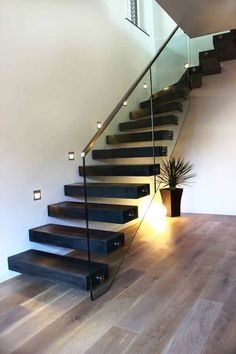 Modern Staircase Design Ideas - Search pictures of modern stairs and uncover design and layout ideas to inspire your own modern staircase remodel, including distinct barriers and storage . Glass Stairs Design, Home Stairs Design, Interior Stairs, House Design, Stair Design, Staircase Design Modern, Staircase Railings, Staircases, Staircase Ideas