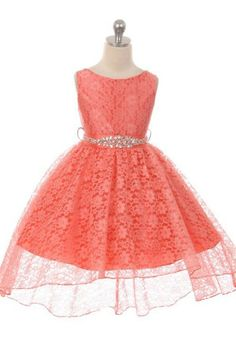 Girls Dress Style 360CB - CORAL High-Low Lace Dress with Matching Rhinestone Sash We absolutely love this classic and beautiful dress. The dress features stunning lace overlay fabric that is classically styled on this dress. The high-low skirt gives the dress a unique look different from other lace outfits.  http://www.flowergirldressforless.com/mm5/merchant.mvc?Screen=PROD&Product_Code=MB_360CB-CO&Store_Code=Flower-Girl&Category_Code=New