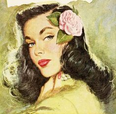 Wonderful 1940s hair, complete with a gorgeous pink rose. Image by Coby Whitmore, 1946. #vintage #1940s #hair