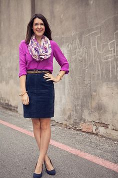 Casual skirt, bright top, and spring scarf. I have the skirt, pumps, and belt, so this will be easy peasy.