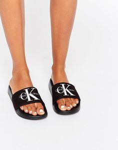 Calvin+Klein+Jeans+Chantal+Black+Slider+Flat+Sandals