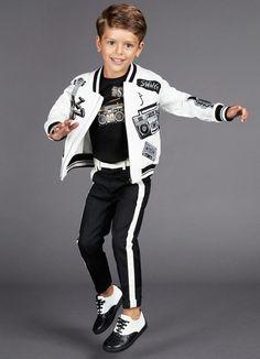 ALALOSHA: VOGUE ENFANTS: Boys black& white Jazz themed by Dolce &Gabbana