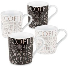 Konitz 100% Coffee 4-pc. Assorted Coffee Mug Set () featuring polyvore, home, kitchen & dining, drinkware, cappuccino mugs, wizard of oz mug, porcelain mugs, cappucino mugs and porcelain coffee mugs