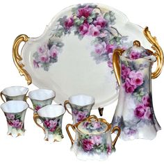 Limoges Wonderful Pink/Red Rose Chocolate Set: Chocolate Pot, 5 Cups, Lidded Sugar and Ornate Tray