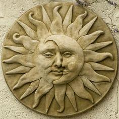 Garden plaque sun moon face - beautifully done the moon Garden plaque sun moon face Sun Moon Stars, My Sun And Stars, Carillons Diy, Garden Plaques, Moon Face, Sun Art, Moon Design, Green Man, Clay Art