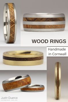 Justin Duance Jewellery has been handmaking wood rings for over 20 years. This Cornwall based jeweller uses salvaged woods inlaid in precious metals to create beautiful contrasting rings. You can use your own hardwood in your ring, or choose one from their extensive collection which includes old boats and whisky barrel oak, among sustainably sourced tropical woods. Each ring is made to order and there is a huge variety of styles to choose from. #woodinlayring #woodring #goldandwood #weddingring Wood Inlay Rings, Wood Rings, Salvaged Wood, Jewelry Companies, Contemporary Jewellery, Cornwall, 20 Years, Whisky, Precious Metals