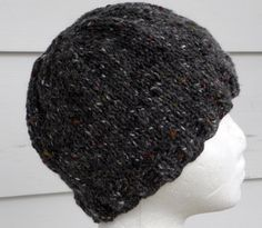 Grey Tweed Knitted Mens Hat. $20.00, via Etsy.