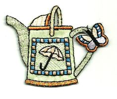 WATERING CAN W/BUTTERFLY EMBROIDERED IRON ON APPLIQUE #Unbranded
