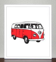 VW Van Print  Red  8x10 by CreativeWildChild on Etsy