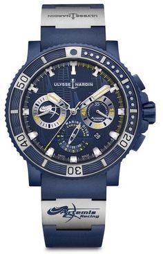 Ulysse Nardin 353-98LE-3/ARTEMIS Maxi Marine Diver Black Sea Chronograph. #ulyssenardin