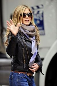 Leather jacket burberry scarf -perfect!