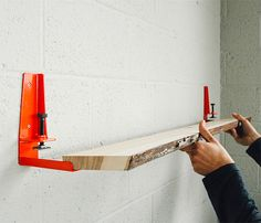 """The Floyd Shelf - A tool that allows you create a shelf from any flat surface up to 1 5/8"""" thick by installing the brackets & clamping to the material."""