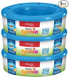 """The diaper genie-it's better than any ordinary pail and trash bags at preventing odors. Each refill holds up to 270 newborn diapers. Works with Diaper Genie Elite, Essentials and """"Mini"""" Diaper Pails. Couches, Diaper Genie Refill, Mom Survival Kit, Diaper Pail, Diaper Tricycle, Diaper Caddy, Newborn Diapers, Baby Newborn, Disposable Diapers"""