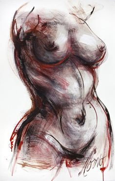 Torso with Red Wash 26 in x 40 in Acrylic Wash on Arches paper