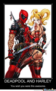 Image result for deadpool and harley quinn