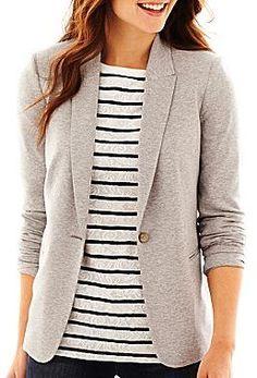 Liz Claiborne Long-Sleeve Knit Blazer