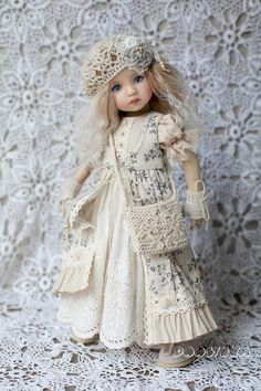 Dress for doll #Little_Darling Dianna Effner in the #Boho_style #handmade_outfit_for_doll
