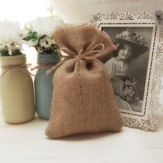 20 Rustic Burlap 4 x 6 Wedding Favor Bag Drawstring Pouch Candy Gift Bag by GoodieGifts on Etsy