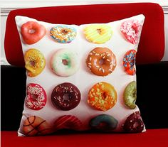 Donut Print Cushion Cover x *Does not include pillow Printed Cushions, Beautiful Space, Wood Print, Decorative Items, Donuts, Create, Cover, Life, Home Decor