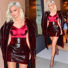 Kylie Jenner spotted in platinum blonde hair and hot red dress in NYC