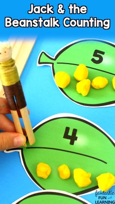 With this free printable Jack and the Beanstalk Math Activity preschool and kindergarten kids practice counting, making sets, and comparing numbers. Fairy Tale Activities, Eyfs Activities, Counting Activities, Spring Activities, Free Preschool, Preschool Crafts, Numbers Preschool, Preschool Kindergarten, Eyfs Jack And The Beanstalk