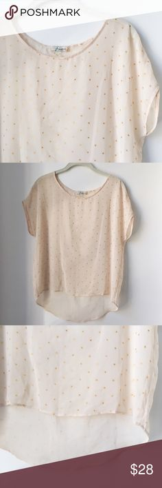 freebird • blush blouse with gold polka dots Great condition, semi-sheer blouse with gold polka dots from Freebird, bought at a trendy boutique. Lightweight and perfect for spring/summer. Not free people, just added for visibility. Free People Tops Blouses