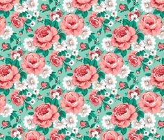 Floral with Roses in Mint fabric - caja_design - Spoonflower