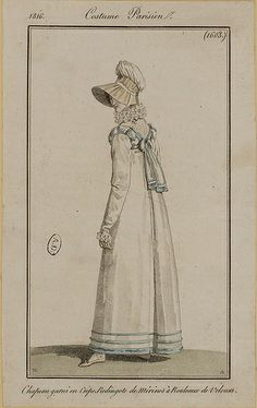 1816 Costume Parisien. Hat trimmed with crepe. Redingote of merino (wool) [trimmed] with rolls of velvet.