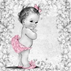 Adorable Vintage Pink Baby Girl Shower Photo Sculpture. Great decoration idea for your baby shower !