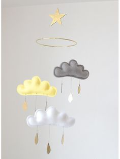 Cloud and Star mobile for nursery JIM with gold by leptitpapillon
