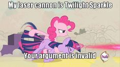 (My Laser Cannon is Twilight Sparkle. Your Argument Is Invalid. (Animated)) Someone implement this into Fallout 4, please.