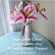 Eco-Chic, everlasting Stargazer Lilies on floral taped stem. Perfect for  cake toppers - would be a great hair flower!