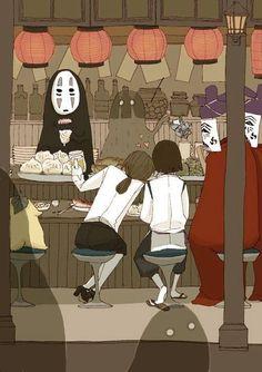 "Image from ""El viaje de Chihiro"" / ""Send to Chihiro no Kamikaukushi"", Artist and director Hayao Miyazaki - Thanks Hayao Miyazaki, Studio Ghibli Art, Studio Ghibli Movies, Fanarts Anime, Anime Characters, Scrapbooking Image, Personajes Studio Ghibli, Chihiro Y Haku, Howls Moving Castle"