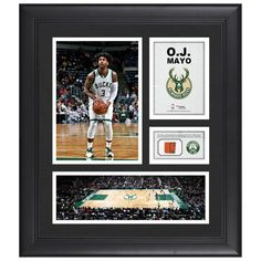 "O.J. Mayo Milwaukee Bucks Fanatics Authentic Framed 15"" x 17"" Collage with Team-Used Ball"