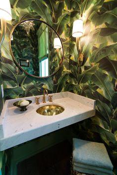 Powder room tropical leaves wallpaper