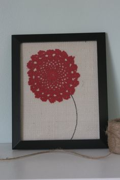 Red Poppy Vintage Doily Burlap Framed Wall Art Decor