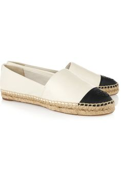 Tory Burch | Two-tone leather espadrilles | NET-A-PORTER.COM