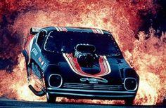 Vintage Drag Racing - Funny Car - Black Magic fire burnout