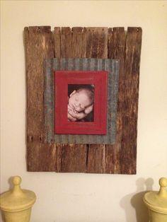 Barnwood/old tin frame