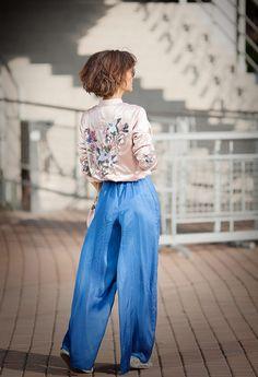 satin wide leg trousers, embellished blush bomber jacket,