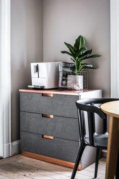 muebles de cemento Mesa auxiliar de cemento estilo nórdico decoración oscura decoración masculina decoración en azul y gris