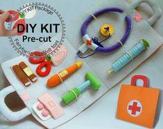 Felt toys-Felt Medical bag Doctor Set-K-T22 by fairyfox on Etsy