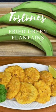 classic Cuban side dish, tostones are fried green plantains; actually they're twice fried green plantains. They're really good with all kinds of dishes. Green Plantain Recipes, Fried Plantain Recipe, Tostones Recipe Cuban, Haitian Food Recipes, Jamaican Recipes, Mexican Food Recipes, Bananas, Comida Boricua, Puerto Rico Food