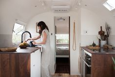 Small-space, large living: travel the country in style with custom-designed-and-built, vintage Airstream by The Modern Caravan.
