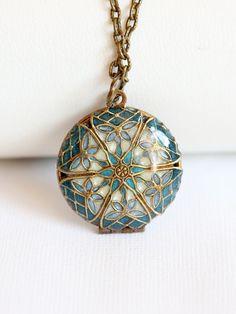 Locket,Brass Locket,Blue locket,filigree locket necklace,photo locket -  Wedding Locket,Something Blue